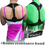 TOWISH Posture Corrector & Adjustable Back Support - Premium Aid Back Brace Helps with Bad Shoulder,Clavicle Alignment and Cervical Neck Pain - Comfortable Medical Figure 8 Correction Device - L Size