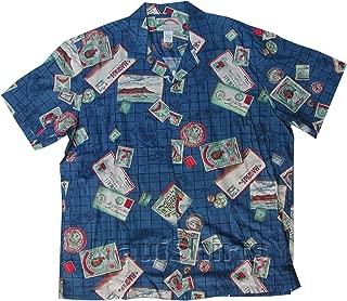 product image for Men's Hawaiiana Islands Hawaiian Aloha Vintage Rayon Shirt in Blue - M