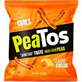 PeaTos Crunchy Curls Snacks, Classic Cheese, 1 Ounce (15 Count), Junk Food Taste, Made from Peas, Made from Real Cheese…