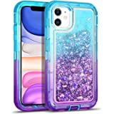WESADN Case for iPhone 11 Case for Women Girls Glitter Cute Protective Shockproof Heavy Duty Clear Case with Sparkle Bling Quicksand Hard Bumper Soft TPU Cover for iPhone 11,6.1 Inches,Teal Purple