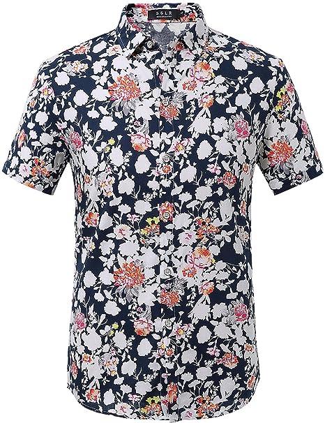 4e1a493479 SSLR Camisa para Hombre Casual Estampada de Flores Manga Corta  Amazon.es   Ropa y accesorios