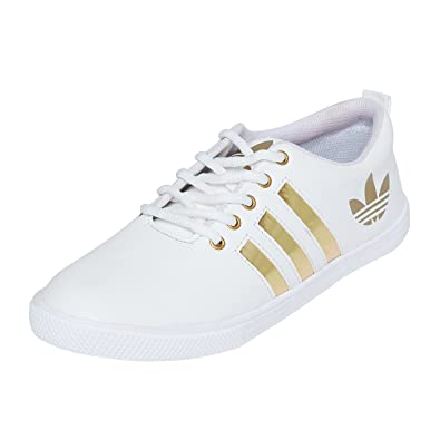 4c06f1f65 Long Walk White Sneakers for Men Casual Shoes White w/Golden Stripes ...