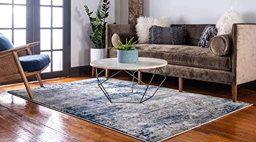 Unique Loom Mystic Collection Abstract Vintage Navy Blue Area Rug 8 0 x 10 0