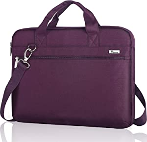 Voova Laptop Sleeve Shoulder Bag Case 14-15.6 Inch, Upgrade Protective Computer Carrying Briefcase Compatible with MacBook Pro 16 15,Surface Book 3/2 15,Asus Acer Dell Hp Chromebook with Handle,Purple
