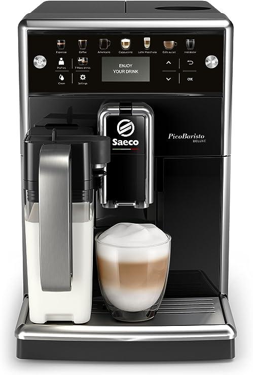 Philips Saeco PicoBaristo Deluxe SM5570/10 - Cafetera Súper Automática, 13 Bebidas de Café Personalizables, Jarra de Leche Integrada, Limpieza automatica, Molinillo Ceramico, Acabado Premium: Amazon.es: Hogar
