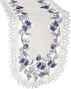 Linens, Art and Things Embroidered Delft Blue Onion Flower Table Runner Dresser Scarf Doily 15 x 34 Inch