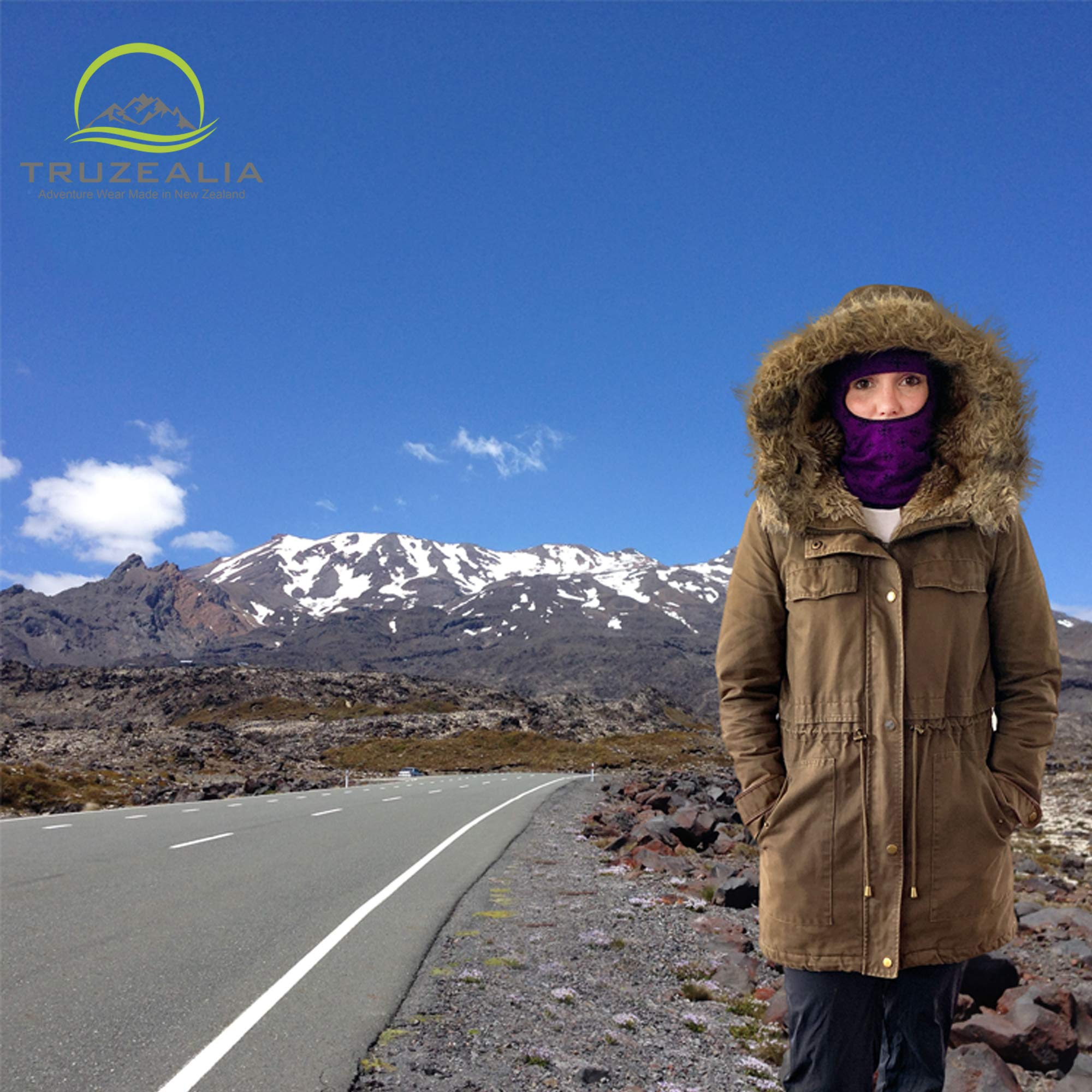 Balaclava Outdoor Wear Hat Cap Unisex New Zealand Made Merino Wool Luxurious Warmth and Soft with a Light Weight Stretchy Face Mask Stylish Unique Moisture Wicking with Thermal Properties Purple by Truzealia (Image #6)