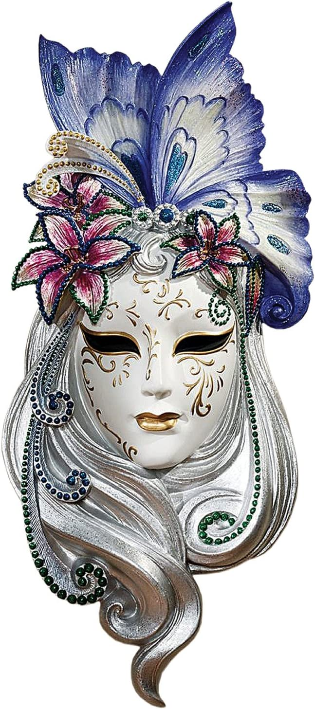 Design Toscano Butterfly Wings Masks of Venice Wall Sculpture, 13 Inch, Polyresin, Full Color