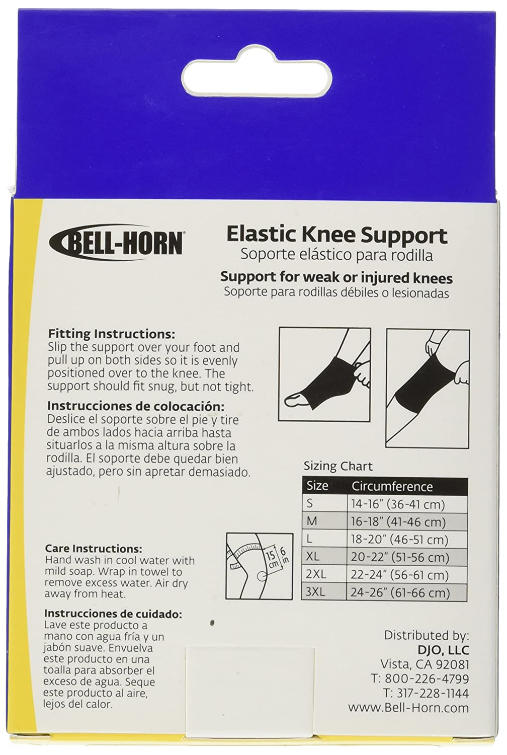 Amazon.com: Bell-Horn Elastic Knee Support/Compression Sleeve, White, XX-Large: Health & Personal Care