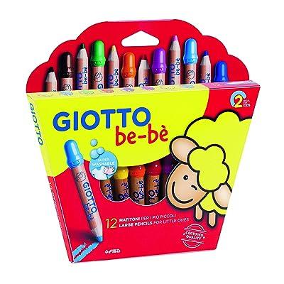 Giotto be-bè 466500 - Estuche 12 súper lápices de colores (mina de 7 mm diámetro, capuchón posterior de seguridad anti-mordedura, anti ahogo y sacapuntas), multicolor: Oficina y papelería