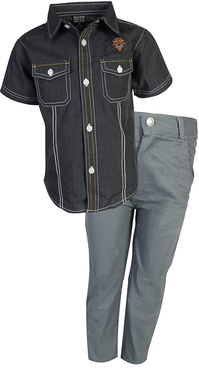 Vintage Style Children's Clothing: Girls, Boys, Baby, Toddler Quad Seven Boys 2-Piece Pant Set (Woven Top and Twill Bottom) $29.99 AT vintagedancer.com