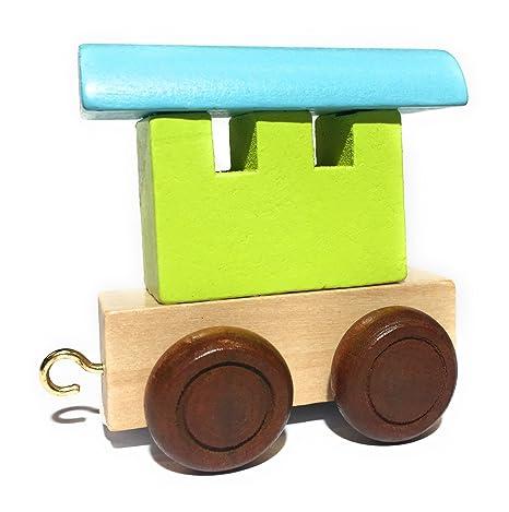 EbyReo - Tren de madera con nombre personalizable, también ...