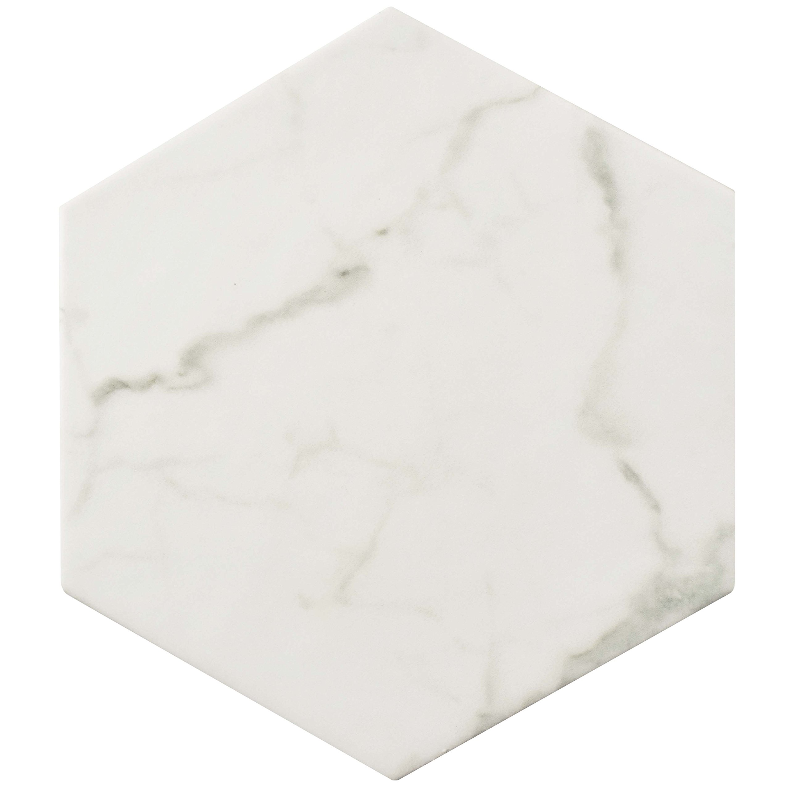 SomerTile FEQCRX Murmur Carrara Hexagon Porcelain Floor & Wall Tile, 7'' x 8'' (Pack of 25)