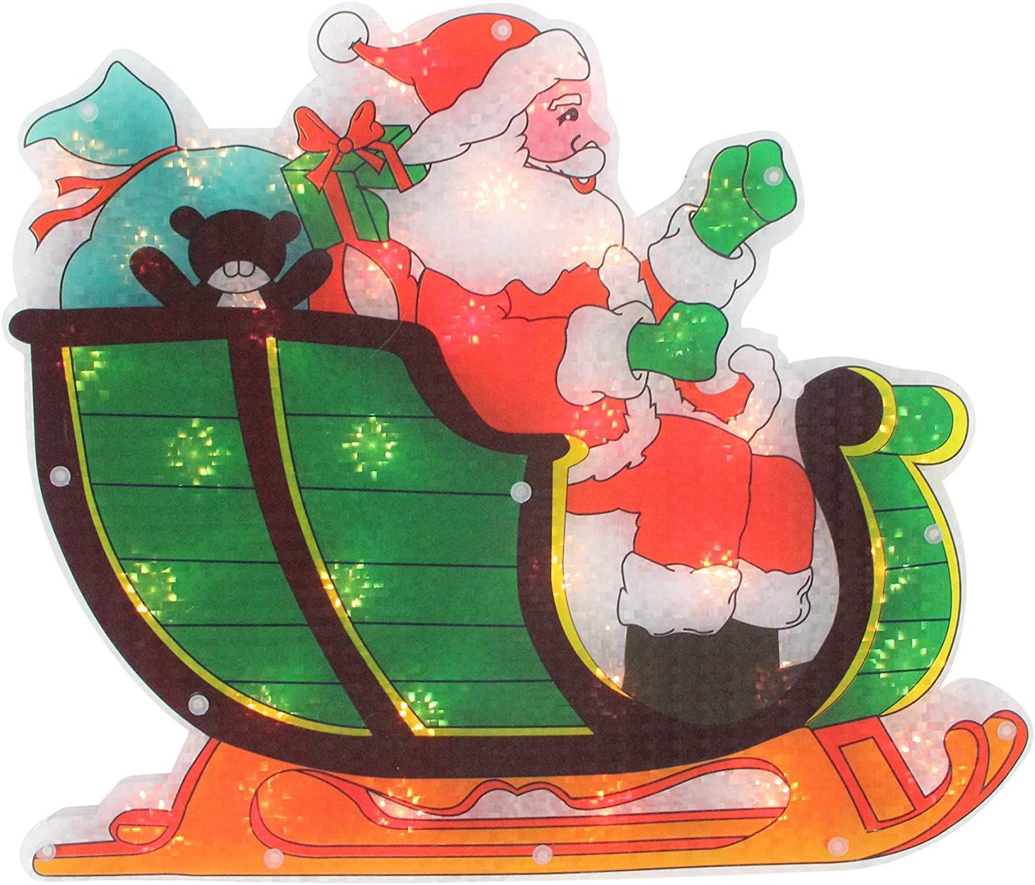 """Northlight 17"""" Pre-Lit Green and Red Holographic Santa in Sleigh Christmas Window Silhouette Decoration"""