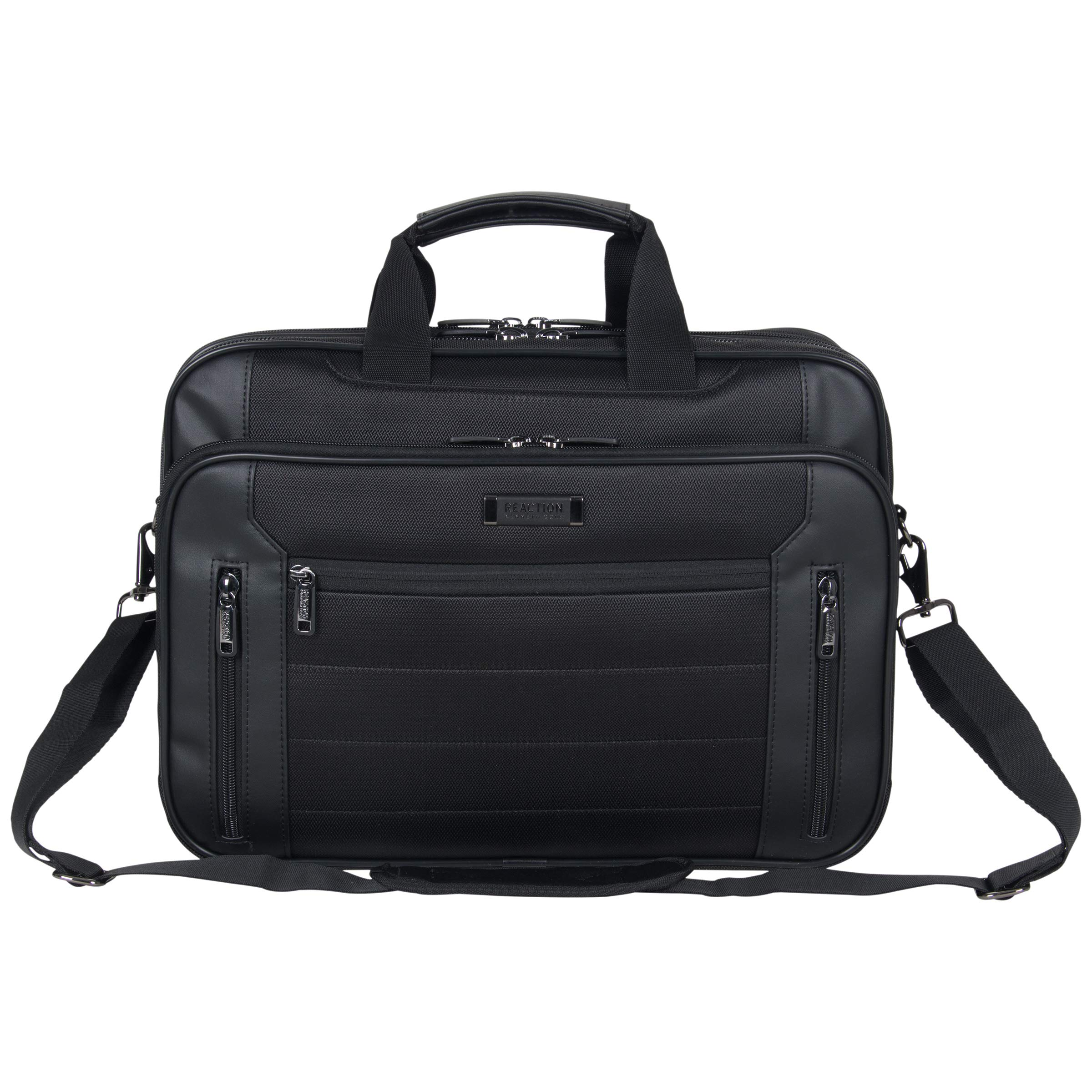 Kenneth Cole Reaction Keystone 1680d Polyester Dual Compartment 17'' Laptop Business Portfolio, Black by Kenneth Cole REACTION