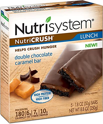 Nutrisystem NutriCRUSH Double Chocolate Caramel Bars, 30 ct, Meal Replacement Bars for Weight Loss