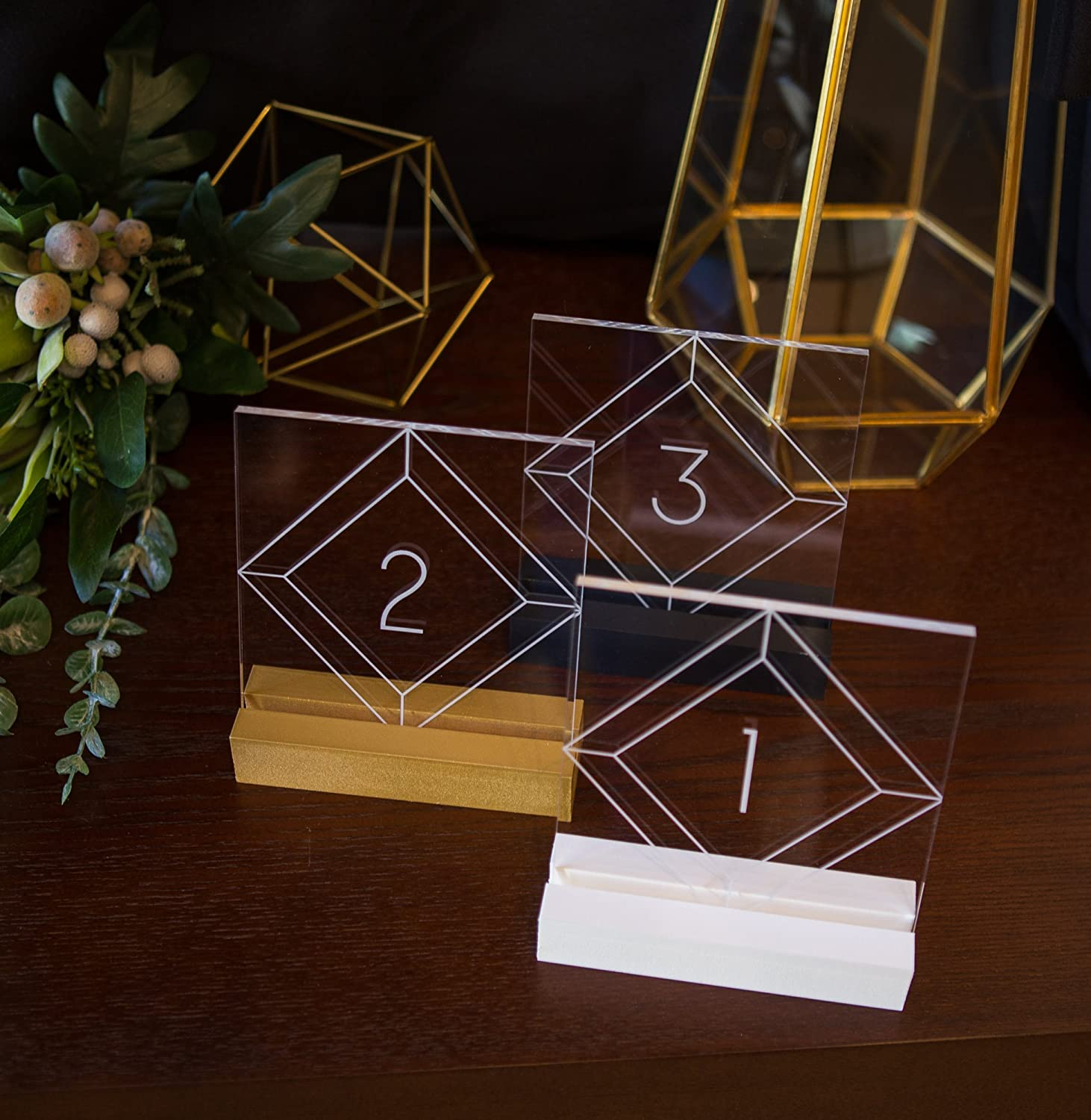 Acrylic Table Numbers for Wedding Tables, Party or Event, Clear Engraved Decor for Wedding Table Numbers, Wedding Signs