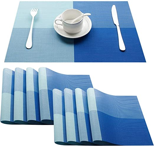 Top Finel Placemats Plastic Table Mats Set Of 8 Heat Resistant Washable Place Mats For Dinner Table Blue Amazon Ca Home Kitchen