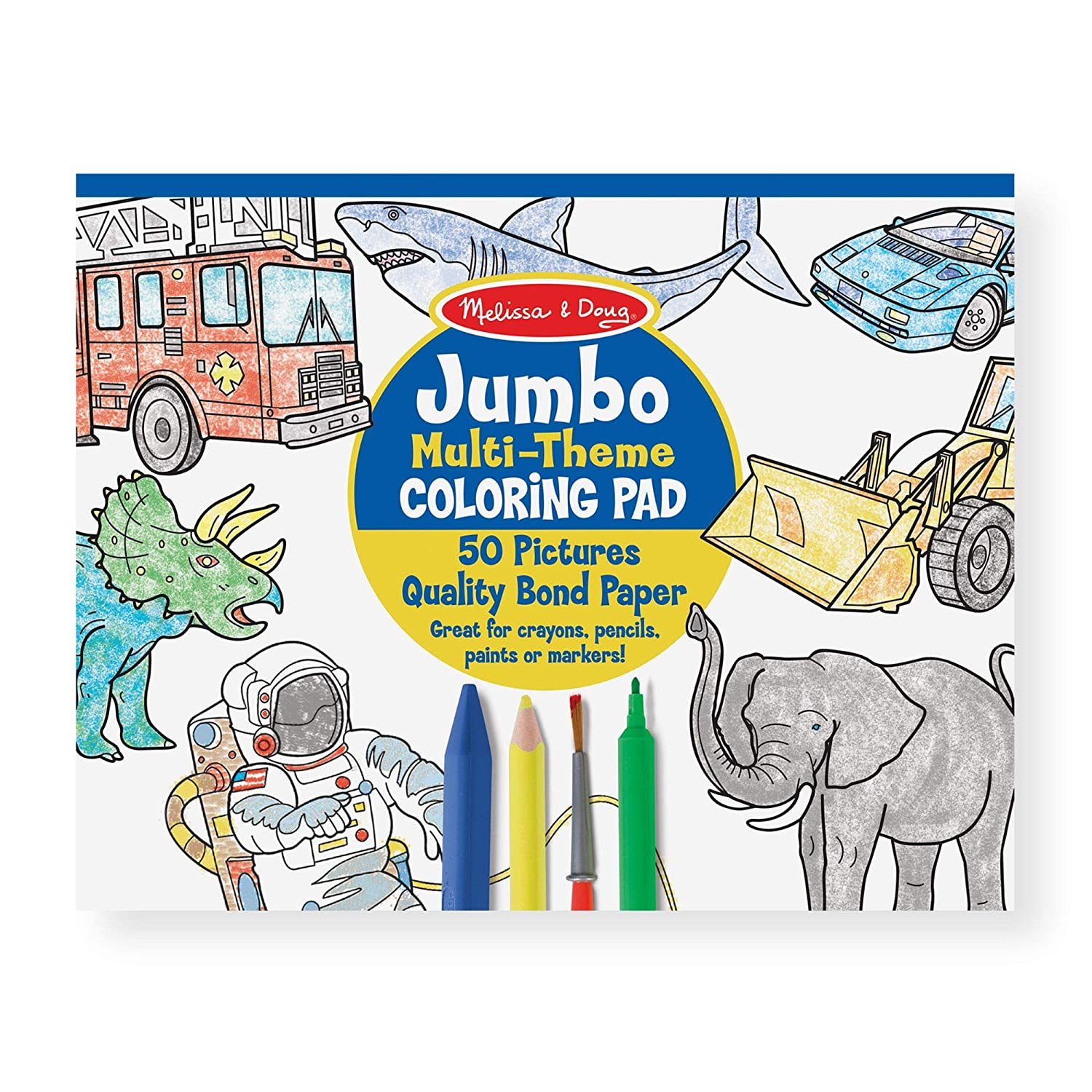 """Melissa & Doug Jumbo 50-Page Kids Coloring Pad; Paper; Oversized Sheets; Space, Sharks, Sports, and More; 0.25"""" H x 11"""" W x 14"""" L"""