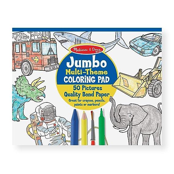 Amazon Com Melissa Doug Jumbo 50 Page Kids Coloring Pad Paper