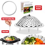 [IP BUNDLE] Vegetable Steamer Basket For Instant Pot Accessories - 100% Stainless Steel Folding Steamer Insert With Sealing Ring For 6qt Instant Pot / Safety Hook / 42 Healthy Recipes