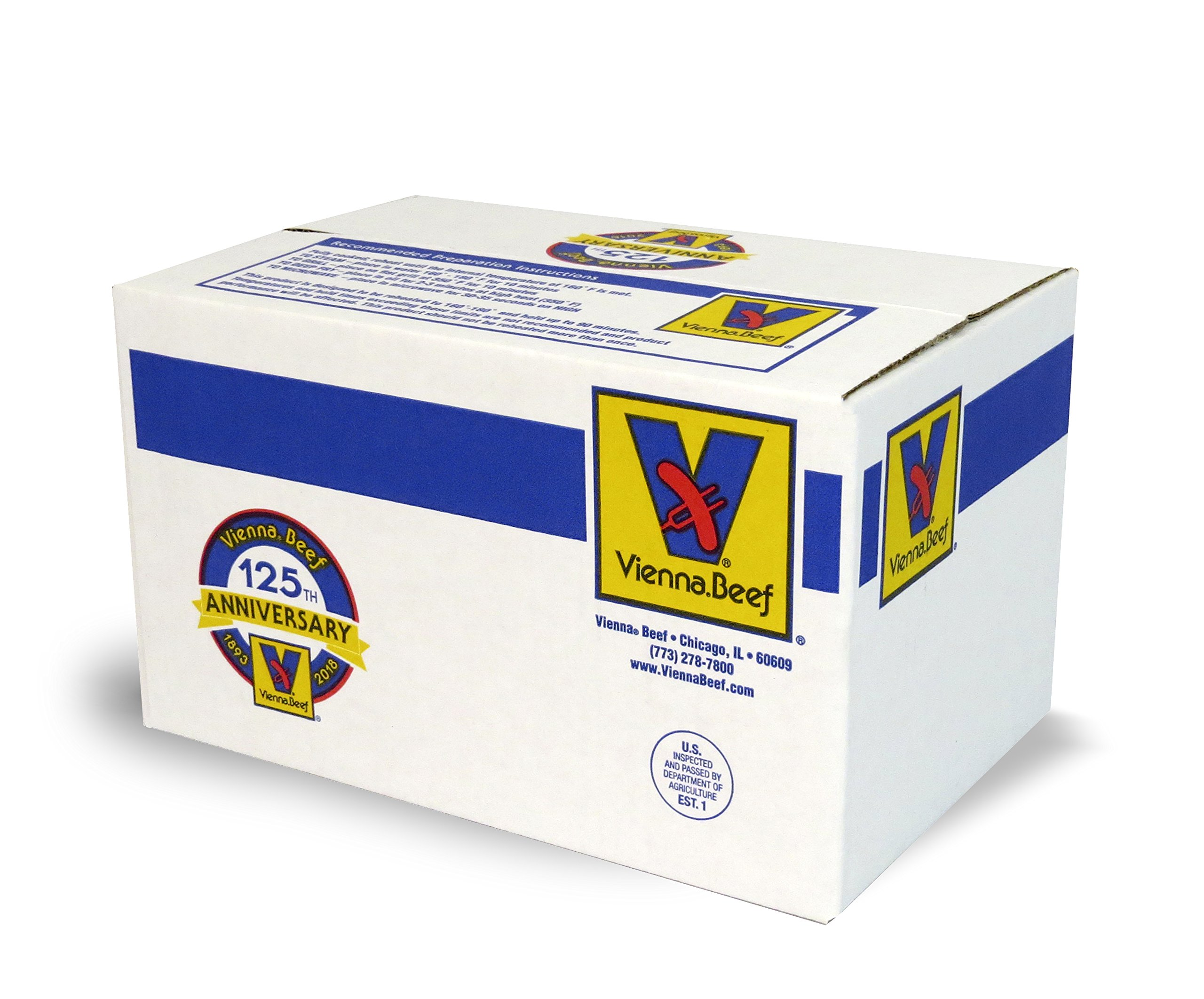 Vienna Beef Natural Casing Franks 6'' 8:1 10 lbs. (Approximately 80 count) by Vienna Beef