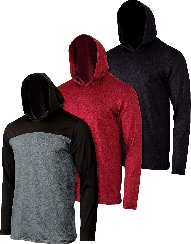 3 Pack: Boys Girls Youth Teen Dry Fit Long Sleeve Active Hoodie Sweatshirt