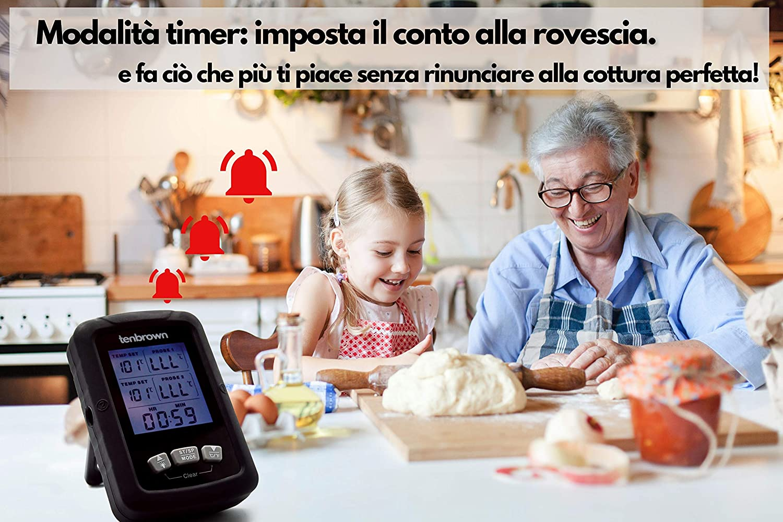Termometro de Horno Doble Sonda de 16,5 cm Term/ómetro Cocina Profesional Impermeable Temperatura Carne Pescado Aceite