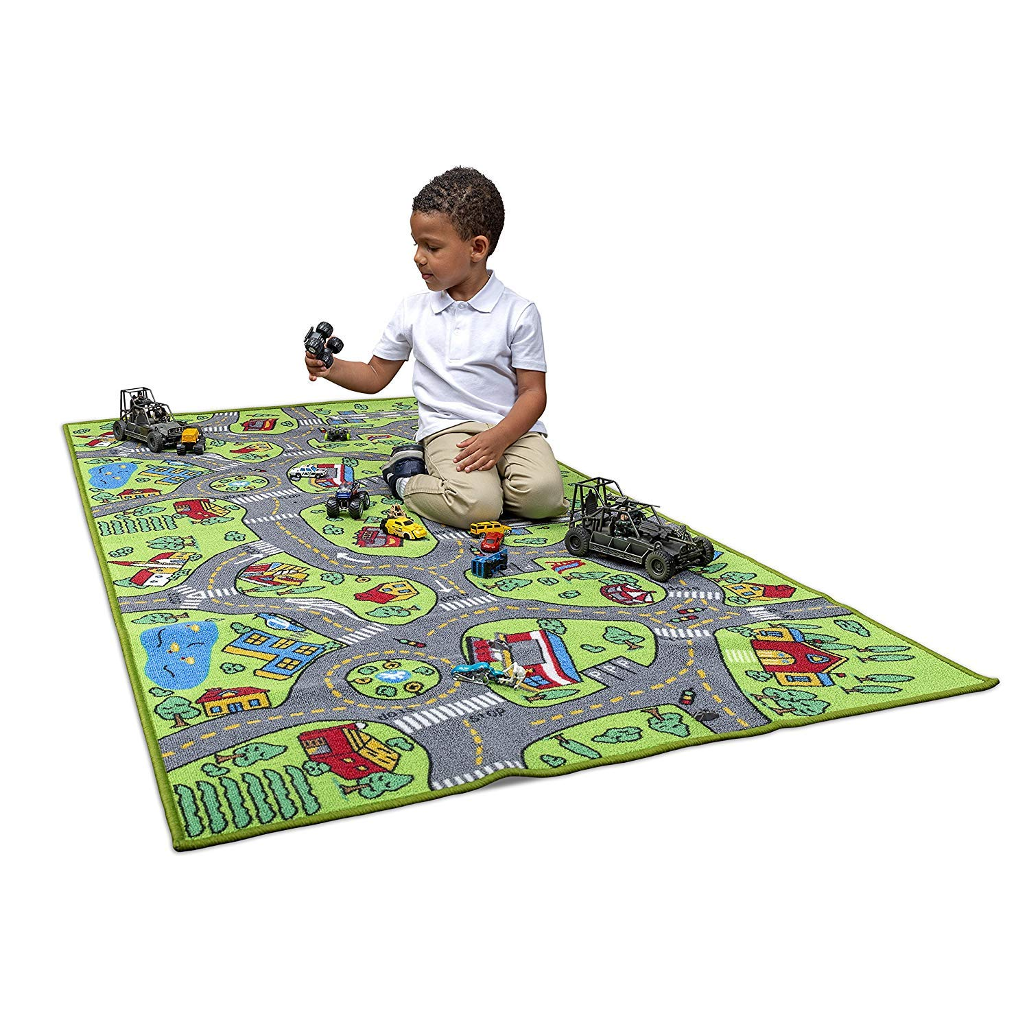 Kids Carpet Playmat City Life Extra Large - Learn & Have Fun Safe, Children's Educational, Road Traffic System, Multi Color Activity Centerp Play Mat! Great For Playing With Cars For Bedroom Playroom by Amy & Delle