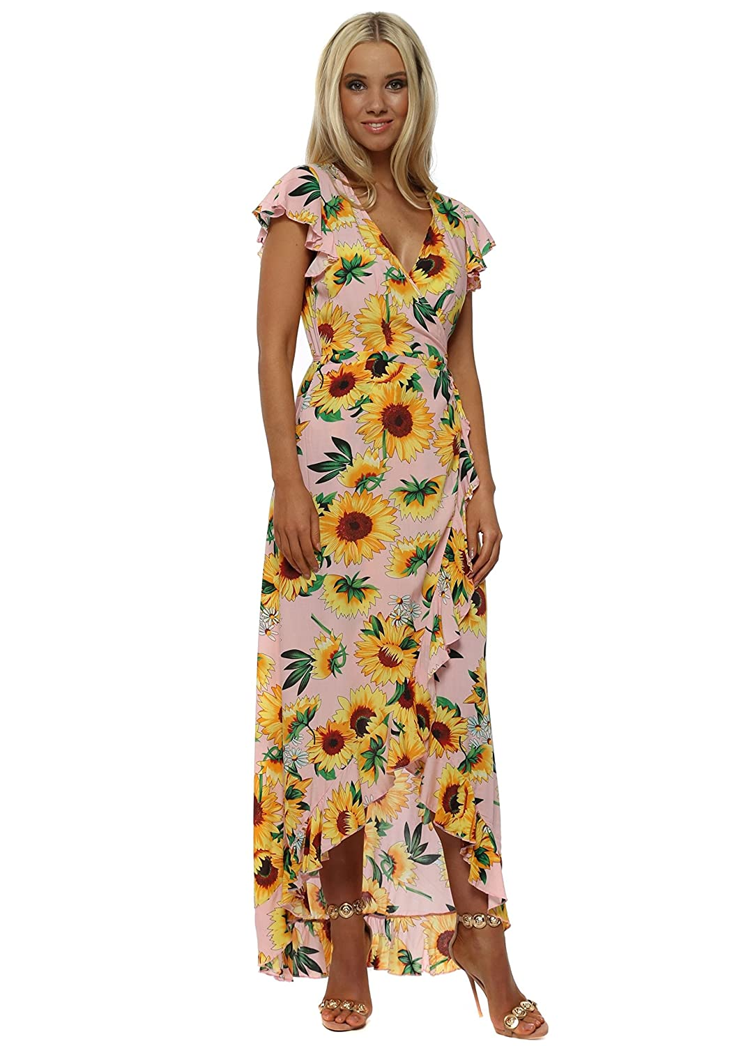 44722134548 Jowell Sunflower Print Ruffle Wrap Dress Pink  Amazon.co.uk  Clothing