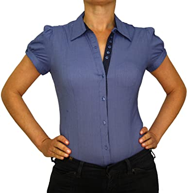 36b73a6616 Extra Me 7038 Damen Stretch Bodys Blusen Bodybluse Blusenbody Farbe Blau  Konfektionsgröße 40 Internationale Größe L