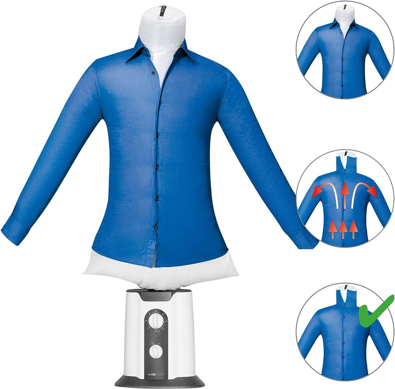 Clatronic HBB 3707 Maniquí de Planchado doméstico y Secado automático, Planchador de Camisas y secador de Ropa, Temporizador 180 Minutos, 2 Niveles Temperatura, 850 W