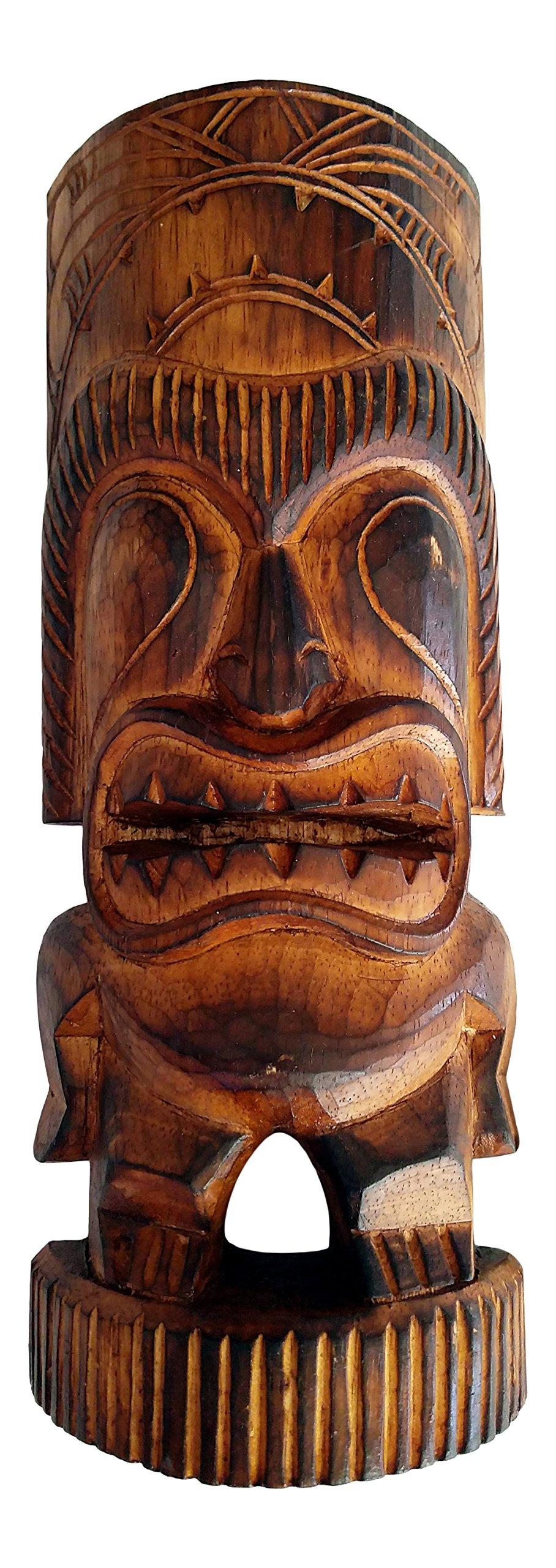 """Wood Tiki Man Statue, 12"""""""