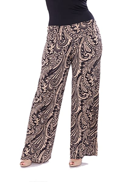 durable in use no sale tax popular style White Mark Plus Size Paisley Printed Palazzo Pants at Amazon ...