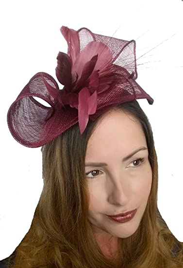 d0ae853889913 Wine Pink Leaf Sinamay Fascinator with Feather Flower - Hat Wedding Races   Amazon.co.uk  Clothing