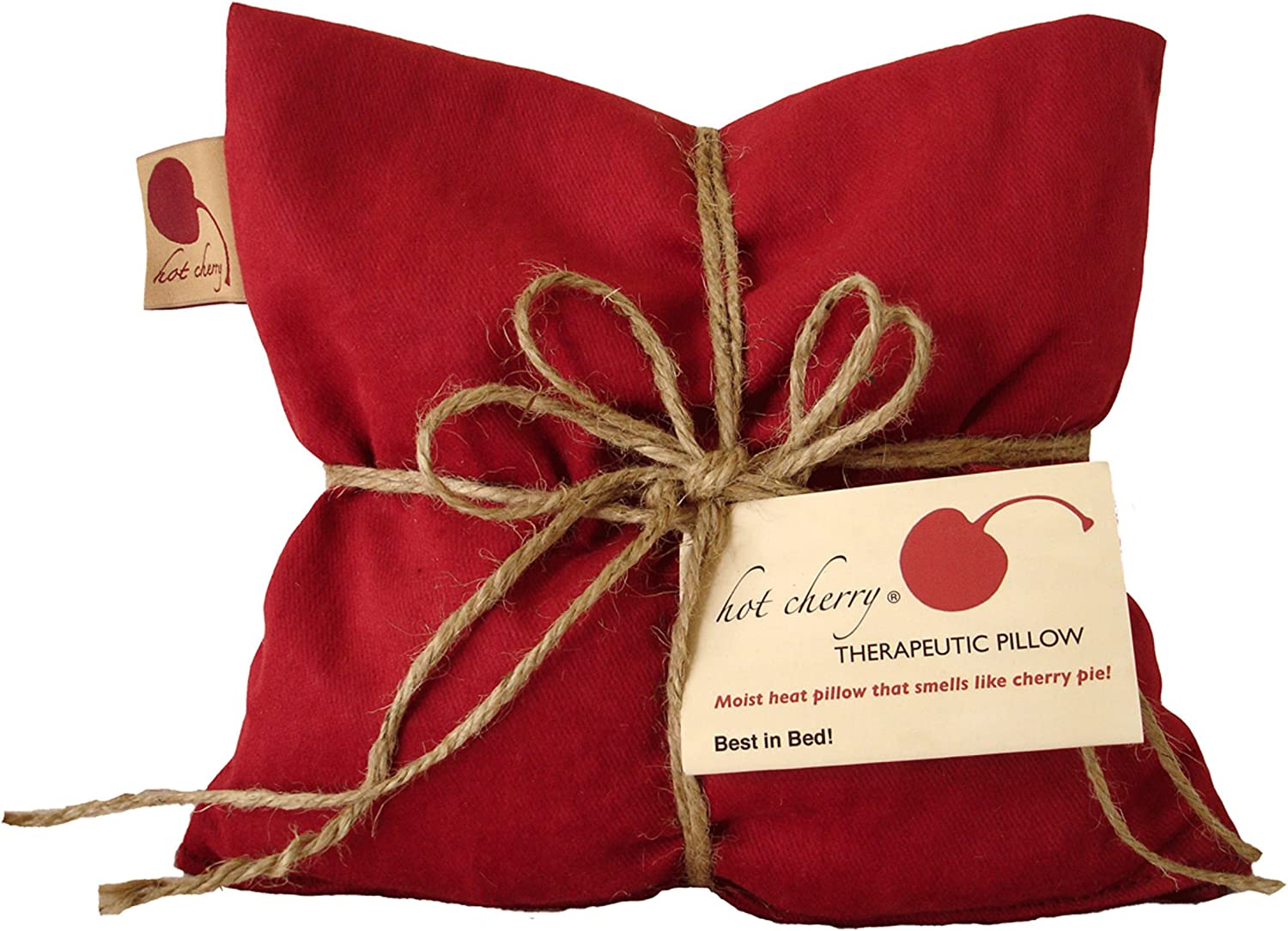 Hot Cherry Pit Pillow Square - Red Denim, Natural-Dyed (Minimal Package/Twine) Natural Moist Heat or Cold Therapy for Muscle Pain, Tension Relief, Headaches, Arthritis, Aromatherapy - Microwavable: Health & Personal Care