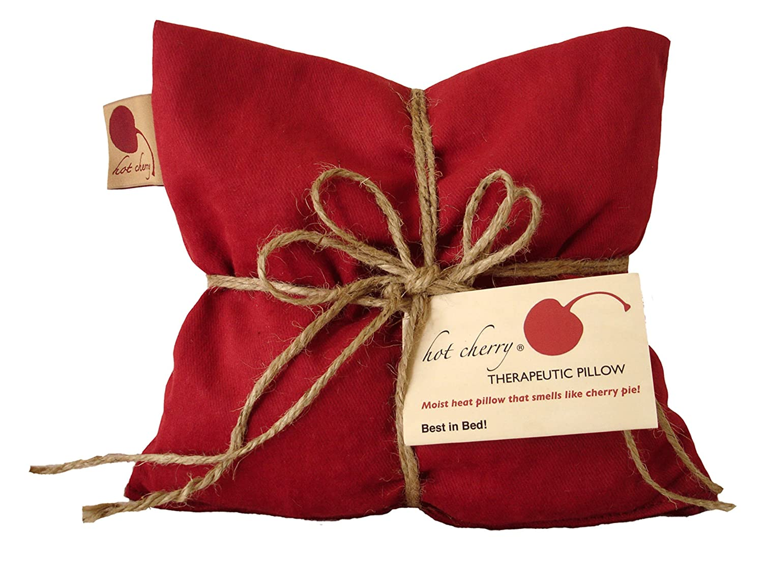 Hot Cherry Pit Pillow Square - Red Denim, Natural-Dyed (Minimal Package/Twine) Natural Moist Heat or Cold Therapy for Muscle Pain, Tension Relief, Headaches, Arthritis, Aromatherapy - Microwavable