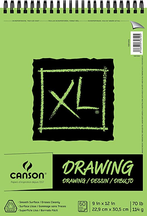 9 x 12 Inch 70 Pound Top Wire Bound 60 Sheets Canson XL Series Recycled Drawing Paper Pad