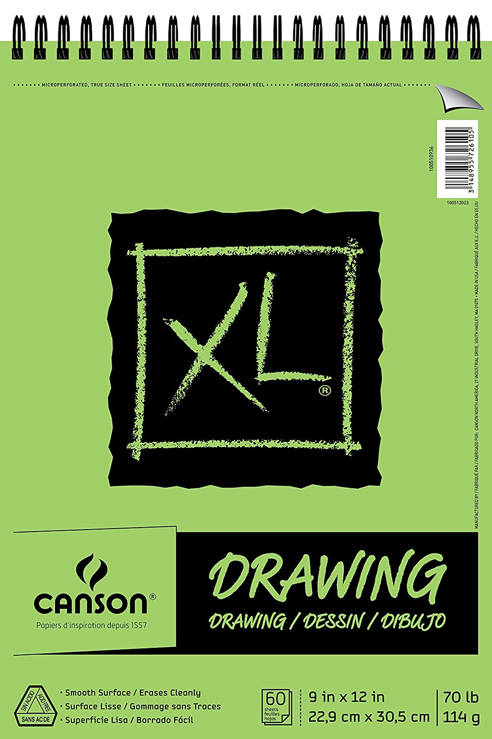 CANSON 70 lb/114g XL Drawing Pad, 9 x 12, 60 Sheets 9 x 12 Canson Inc. 100510936