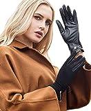 YISEVEN Women's Winter Touchscreen Genuine Lambskin Leather Gloves Fleece Lined
