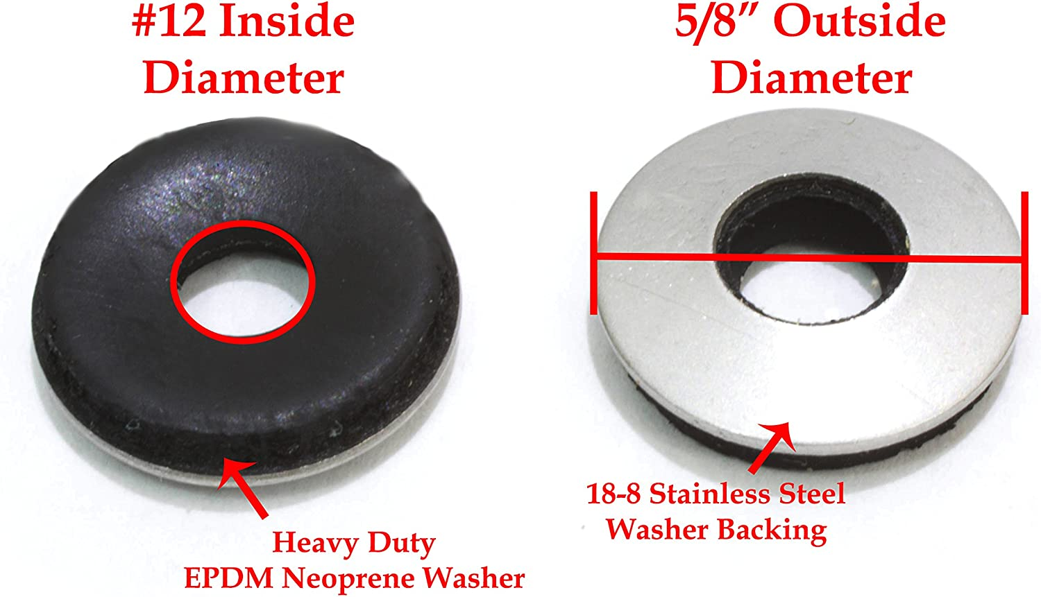 10 X 1 1//4 OD Stainless Fender Washer Qty 100