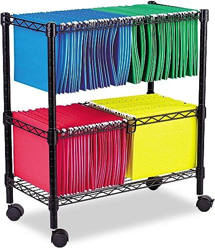 Alera ALE Two-Tier Rolling File Cart, 26w x14d x 29-1 2h, Black