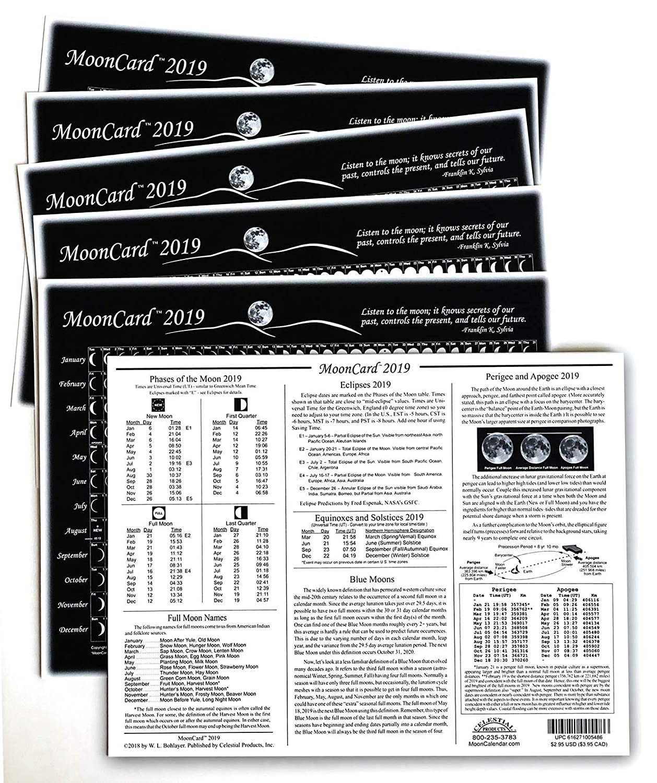 Celestial Products Moon Calendar 2019, Cards, MoonCard - 6 pk
