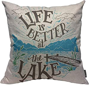 Mugod Lake House Sign Throw Pillow Cover Life is Better at The Lake Lakeside Living Cabin Decorative Square Pillow Case for Home Bedroom Living Room Cushion Cover 18x18 Inch