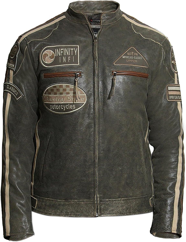 ABSY Mens Motorbike Leather Biker Jacket Brown