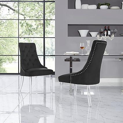 Amazoncom Velvet Acrylic Leg Dining Chair Set Of 2 Black Chairs
