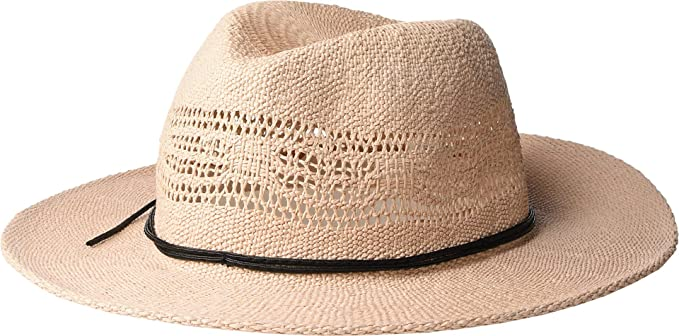 a5031700800b0a San Diego Hat Company Women's PBF7337 - Woven Fedora with Faux Leather Trim  Blush One Size