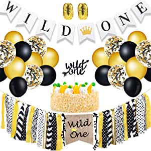 Zhanmai Wild One Banners Highchair Banner Cake Toppers and 50 Pieces Gold Black Confetti Balloons Latex Balloons for 1st Birthday Party Decorations