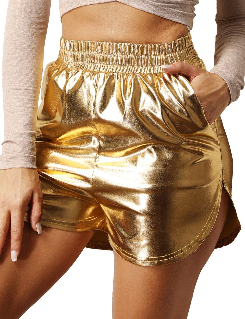 Women's Shiny Metallic Shorts Summer Yoga High Waist Hot Shorts Gold M