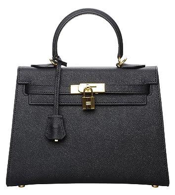 Cherish Kiss Women s Padlock Genuine Taiga Leather Top Handle Satchel  Handbags Black(28CM 587b8cf84efa1
